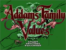 Title screen of Addams Family Values on the Sega Nomad.