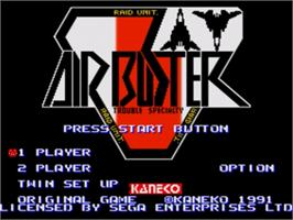 Title screen of Air Buster on the Sega Nomad.