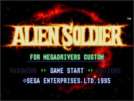 Title screen of Alien Soldier on the Sega Nomad.