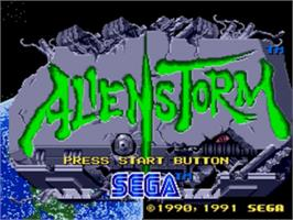 Title screen of Alien Storm on the Sega Nomad.