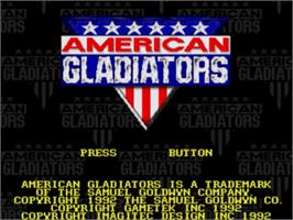 Title screen of American Gladiators on the Sega Nomad.