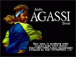 Title screen of Andre Agassi Tennis on the Sega Nomad.