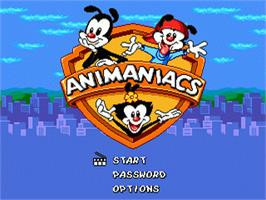 Title screen of Animaniacs on the Sega Nomad.