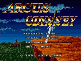 Title screen of Arcus Odyssey on the Sega Nomad.