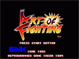 Title screen of Art of Fighting / Ryuuko no Ken on the Sega Nomad.