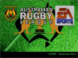 Title screen of Australian Rugby League on the Sega Nomad.