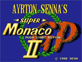 Title screen of Ayrton Senna's Super Monaco GP 2 on the Sega Nomad.