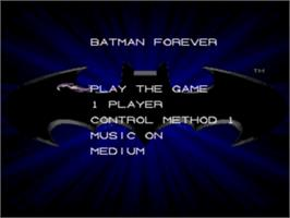 Title screen of Batman Forever on the Sega Nomad.