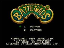 Title screen of Battletoads on the Sega Nomad.