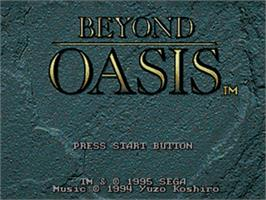 Title screen of Beyond Oasis on the Sega Nomad.