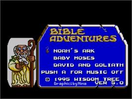 Title screen of Bible Adventures on the Sega Nomad.