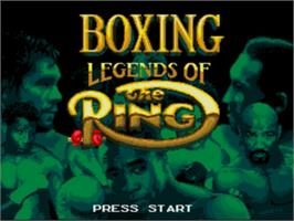 Title screen of Boxing Legends of the Ring on the Sega Nomad.