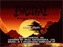 Title screen of Brutal: Paws of Fury on the Sega Nomad.
