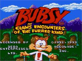 Title screen of Bubsy in: Claws Encounters of the Furred Kind on the Sega Nomad.