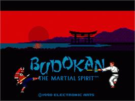 Title screen of Budokan: The Martial Spirit on the Sega Nomad.
