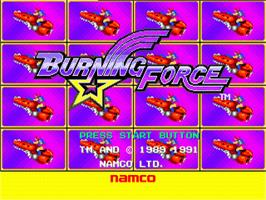 Title screen of Burning Force on the Sega Nomad.