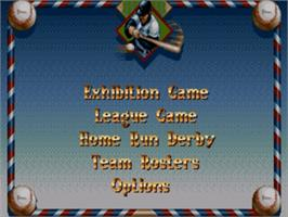 Title screen of Cal Ripken Jr. Baseball on the Sega Nomad.