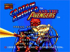 Title screen of Captain America and The Avengers on the Sega Nomad.