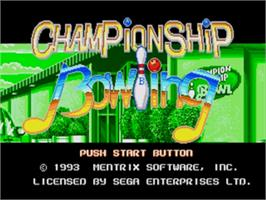 Title screen of Championship Bowling on the Sega Nomad.