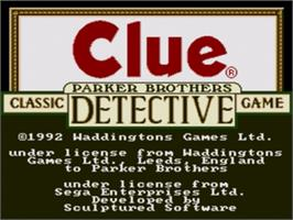 Title screen of Clue on the Sega Nomad.
