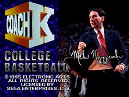 Title screen of Coach K College Basketball on the Sega Nomad.