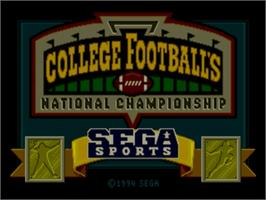 Title screen of College Football's National Championship on the Sega Nomad.