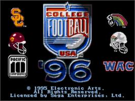Title screen of College Football USA 96 on the Sega Nomad.
