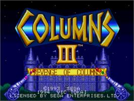 Title screen of Columns III on the Sega Nomad.