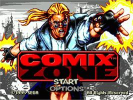 Title screen of Comix Zone on the Sega Nomad.