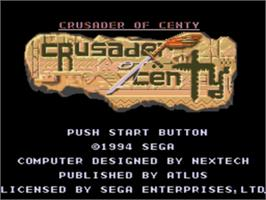 Title screen of Crusader of Centy on the Sega Nomad.