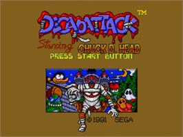 Title screen of Decapattack on the Sega Nomad.