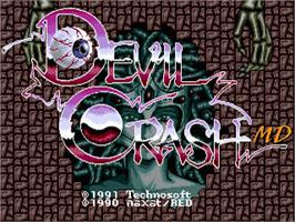 Title screen of Devil's Crush on the Sega Nomad.