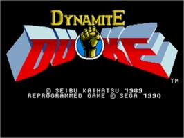 Title screen of Dynamite Duke on the Sega Nomad.