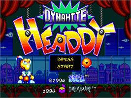 Title screen of Dynamite Headdy on the Sega Nomad.
