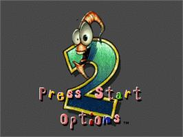 Title screen of Earthworm Jim 2 on the Sega Nomad.
