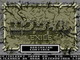 Title screen of Exile on the Sega Nomad.