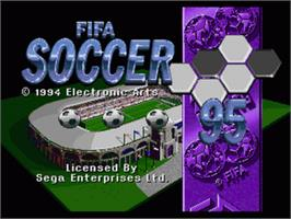 Title screen of FIFA 95 on the Sega Nomad.