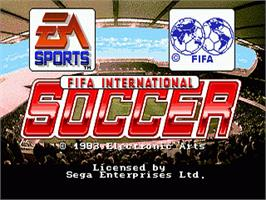 Title screen of FIFA International Soccer on the Sega Nomad.