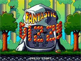 Title screen of Fantastic Adventures of Dizzy, The on the Sega Nomad.