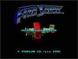 Title screen of Fire Shark on the Sega Nomad.