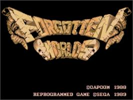 Title screen of Forgotten Worlds on the Sega Nomad.