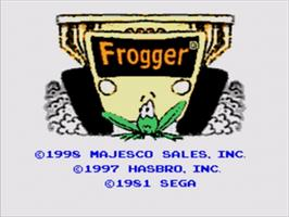 Title screen of Frogger on the Sega Nomad.