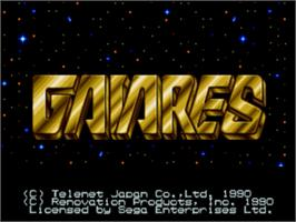 Title screen of Gaiares on the Sega Nomad.