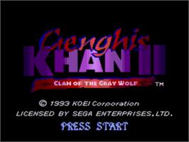 Title screen of Genghis Khan 2: Clan of the Grey Wolf on the Sega Nomad.