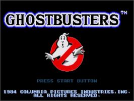 Title screen of Ghostbusters on the Sega Nomad.