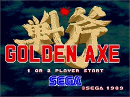 Title screen of Golden Axe on the Sega Nomad.