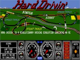 Title screen of Hard Drivin' on the Sega Nomad.