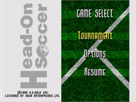 Title screen of Head-On Soccer on the Sega Nomad.