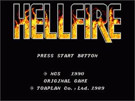Title screen of Hellfire on the Sega Nomad.