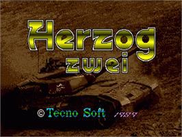 Title screen of Herzog Zwei on the Sega Nomad.
